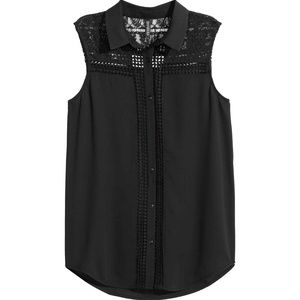 NEW H&M Cutout Lace Black Sleeveless Flowy Top